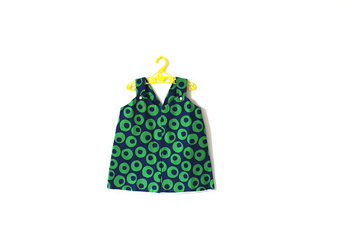 Vintage Bold 1960's Mod Green Circle Summer Dress 2-3 Years