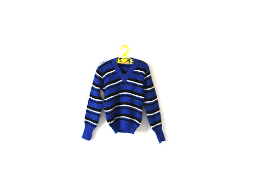 Vintage 1970's Blue Striped V Neck Jumper  4-5 Years