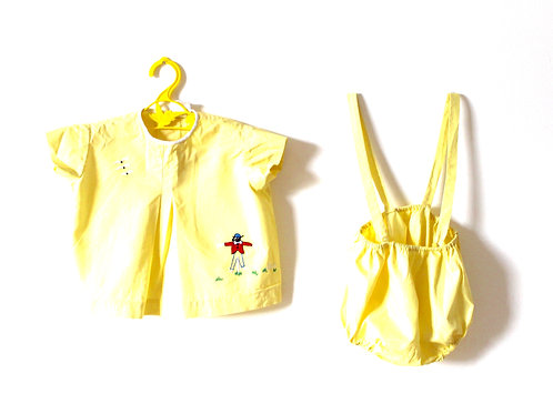 Vintage Yellow Scarecrow 1950's Two Piece Outfit 12 Months