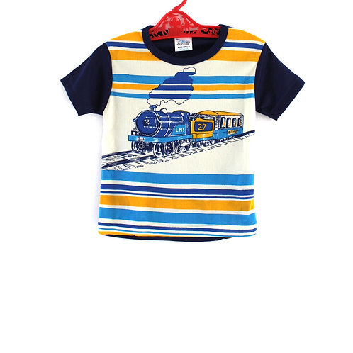 Vintage Unisex 2-3 Years 1970's Train T-shirt Boys Girls Blue Yellow