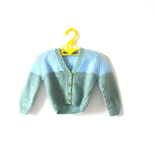 Vintage Pale Blue and Green Knitted Cardigan 0-3 Months