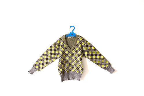 Vintage 1950's Checked Yellow and Brown V Neck 5-6 Years