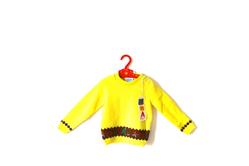 Vintage Yellow 1970's Stick and Hoop People Jumper