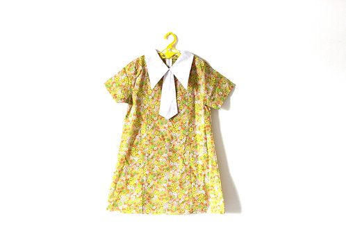 Vintage 1960's Floral Lime Pink Delicate Dress 6-7 Years