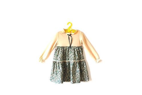 Vintage 1970's Floral Green Ruffle Dress 3-4 Years