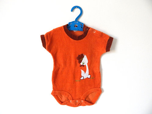 Vintage Orange Towelling Duck Bodysuit 3-6 Months