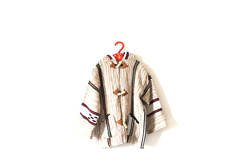 Vintage Folk 70's Hooded Coat  4-5 Years Patterned Toggle