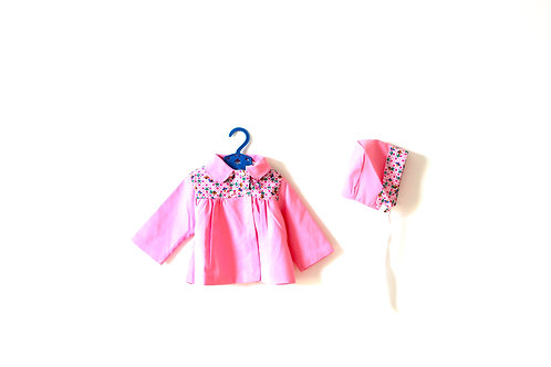Vintage Pink 1960's Patterned Jacket and Bonnet Two Piece 6 Months