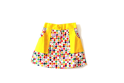 Vintage Yellow Summer Daisy 1960's Girls Skirt 2-3 Years