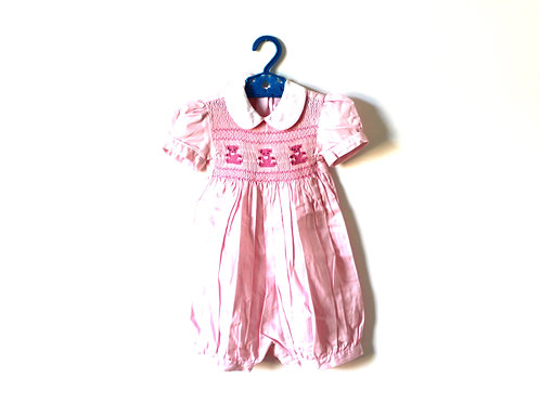 Vintage Girls Pink Teddy Romper 1-2 Years