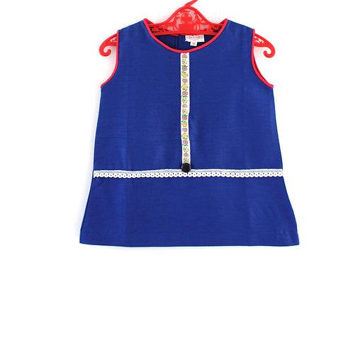 Vintage 1960's 2-3 Years Folk Blue Shift Girls Dress Mod