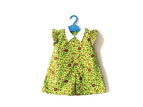 Vintage Floral Green 1950's Dress with Collar 3 Years