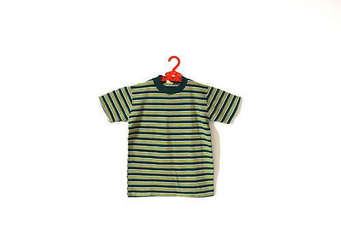 Vintage 1960's Stripe Green Yellow T-shirt 6 Years