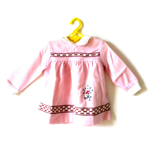 Vintage Pink 1960's Checked Floral Dress 1-2 Years