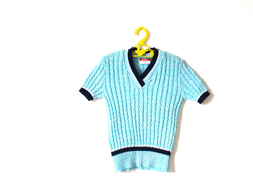 Vintage Pale Blue Knitted Ribbed Top 6 Years