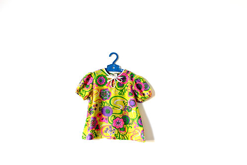 Vintage Yellow Psychedelic 1960's Dress 2-3 Years