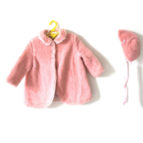 Vintage 1950's Furry Pink Coat with Bonnet 1-2 Years