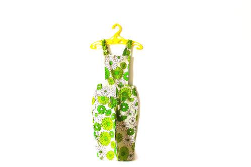 Vintage 1960's Green Flower Dungaree 2-3 Years