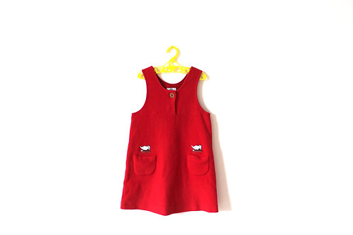Vintage Red Babar Wooly Winter Pinafore 4-5 Years