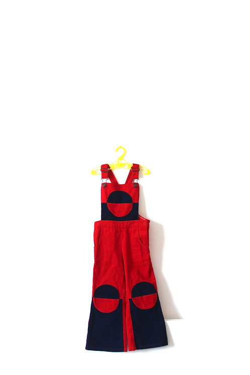 Vintage Circle  Dungarees  4 Years Childrens Boys Girls Cord 1970's