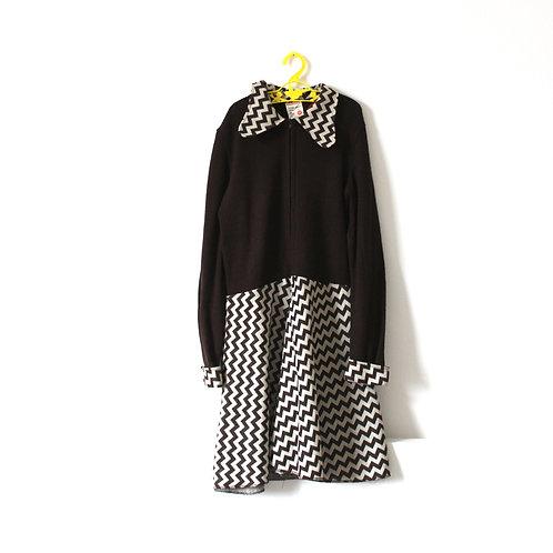 Vintage Brown ZigZag 1970's Dress Mod Collar Age 10-11