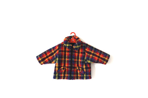 Vintage Fleece Childrens Baby Checked Multicoloured Jacket 1970's 12 Months