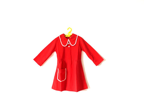 Vintage 1970's Red and White Collar Dress 5-6 Years