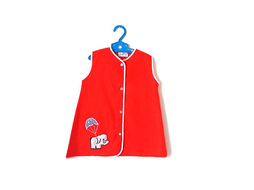 Vintage Girls Red Mod Elephant 60's Dress 3 Years
