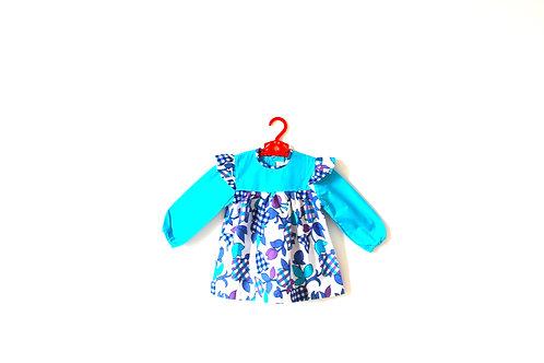 Vintage Blue Flower Gingham Dress 1970's Age 3