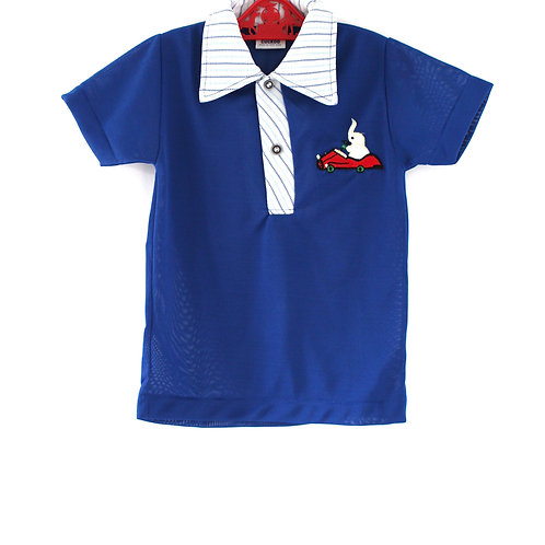 Vintage 1970's Blue 4-5 Years Elephant Polo in Retro Car