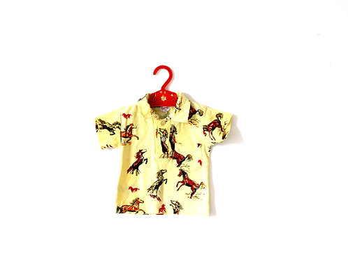 Vintage Horse 1960's Yellow Children's Polo T-shirt 12 Months
