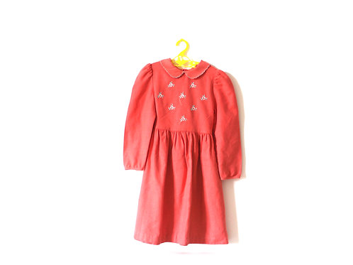 Vintage Coral Peach Pink Floral Dress 5-6 Years