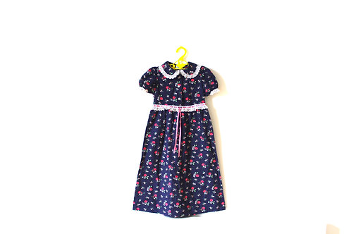 Vintage Mothercare 70's Floral Blue Long Dress 2-3 Years