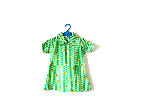Vintage 1960's Spring Busy Bee Dress Green Yellow 1-2 Years