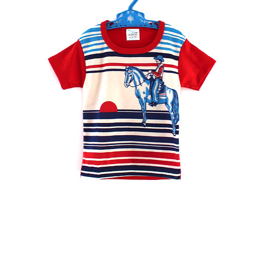 Vintage Unisex 2-3 Years Children's Cowboy 1970's Striped T-shirt Red with Blue
