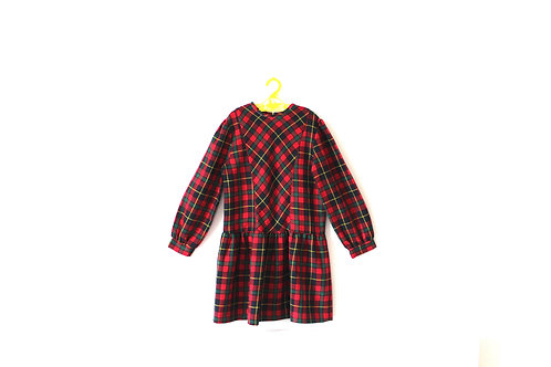 Vintage Tartan Red Checked Dress 5-6 Years
