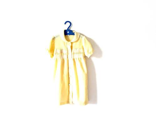 Vintage 50's French Cheesecloth Yellow Peterpan Collar Dress