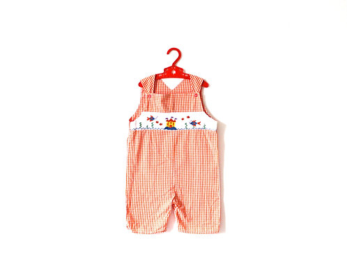 Vintage Orange Gingham Seaside Summer Romper