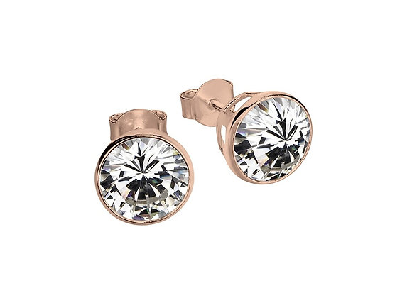 Sterling silver rose gold plated bezel set stud earring 6mm
