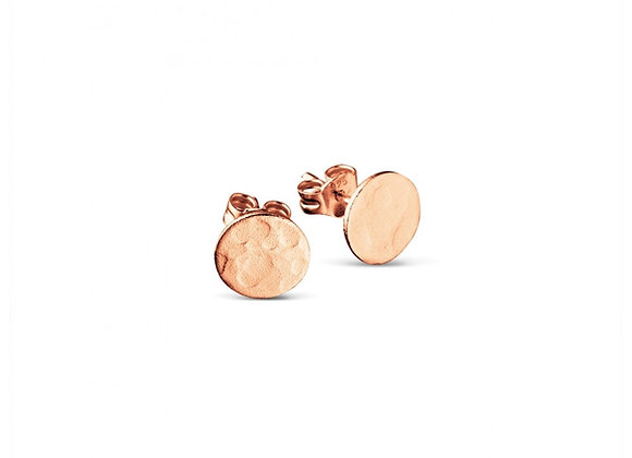 Sterling silver rose gold plated hammered flat circle stud earring 8mm