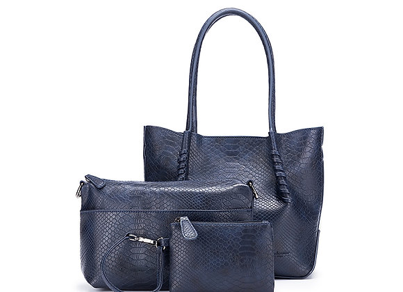 Black Caviar Audrey - Navy 3 piece vegan leather tote