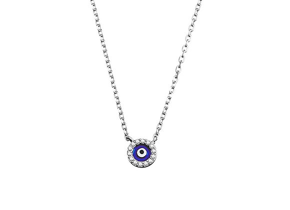 Sterling silver round cubic zirconia mini evil eye necklace