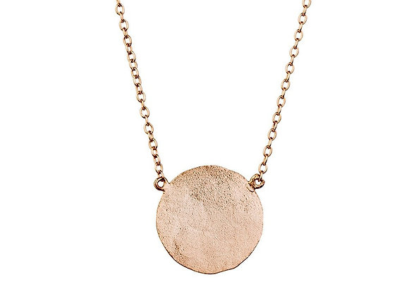 Sterling silver rose gold plated beaten disk necklac