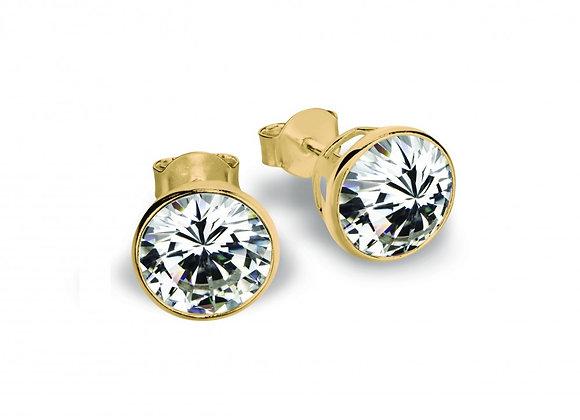 Sterling silver gold plated bezel set stud earring 6mm