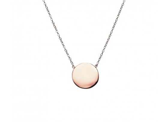 Sterling Silver Rose Gold Plated Brushed Circle Necklace