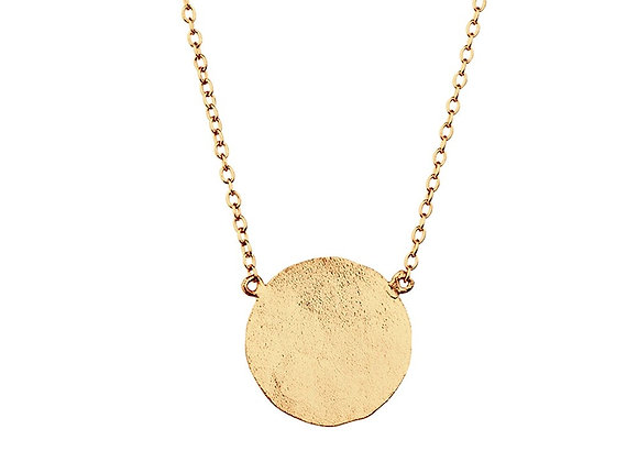 Sterling silver gold plated beaten disk necklace