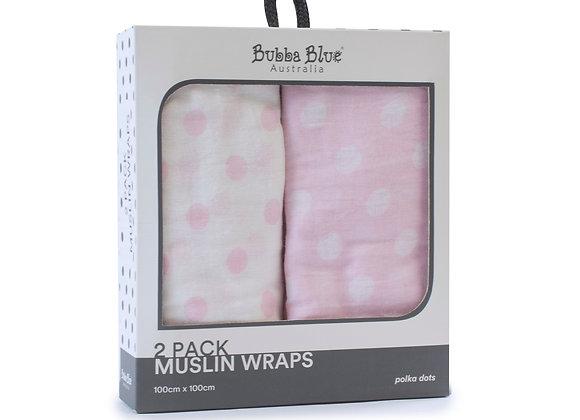 Bubba Blue - 2 Pack Muslin Wraps Polka Dot Pink