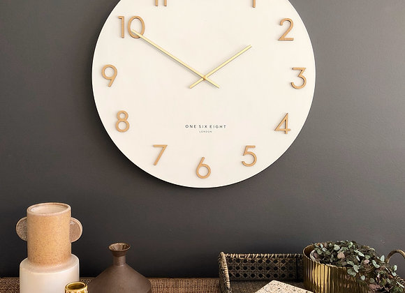 White Metal Wall Clock 60cm