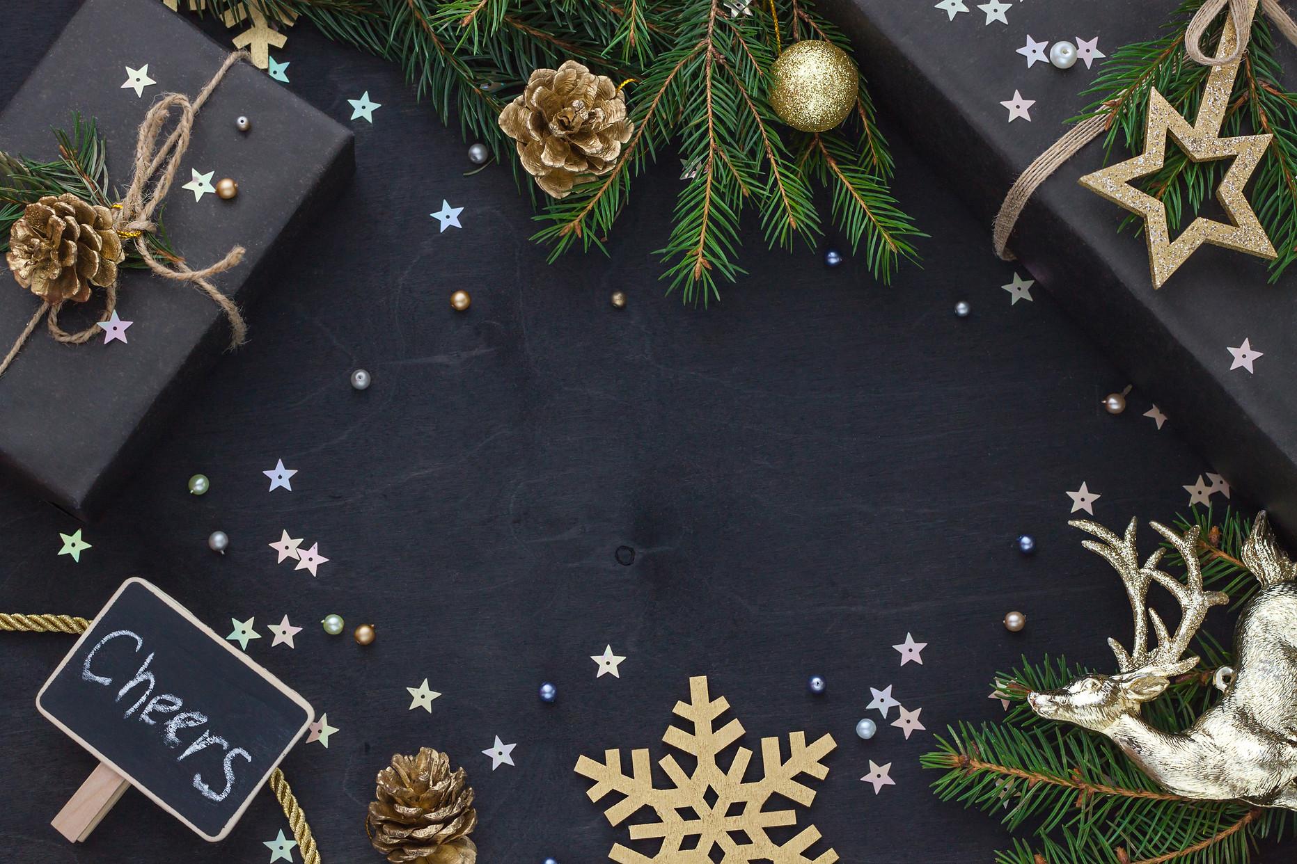 Christmas, New Year black stylish flat l
