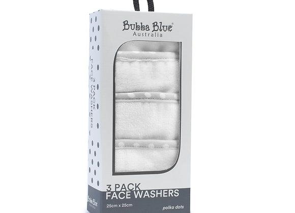 Bubba Blue - 3 Pack Face Washers Grey Polka Dot